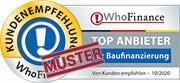 Siegel für die besten Anbieter für Baufinanzierung in Deutschland 2020