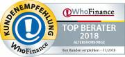 Siegel für die Top 150 Berater für Altersvorsorge 2018 in Deutschland