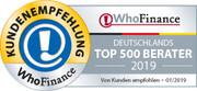 Siegel für die Top 500 Berater 2019 in Deutschland