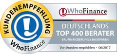 Siegel für die besten Berater Baufinanzierung und Bausparen Deutschlands 2017